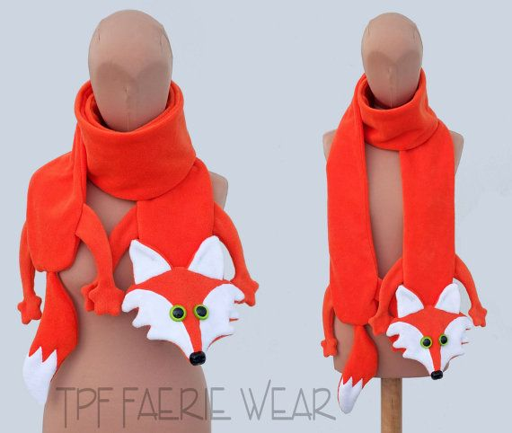 Fleece fox scarf.