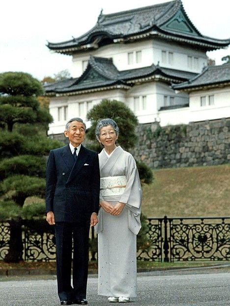 Emperor Akihto and Empress Michiko outside the Imperial Palace, Tokyo,Japan