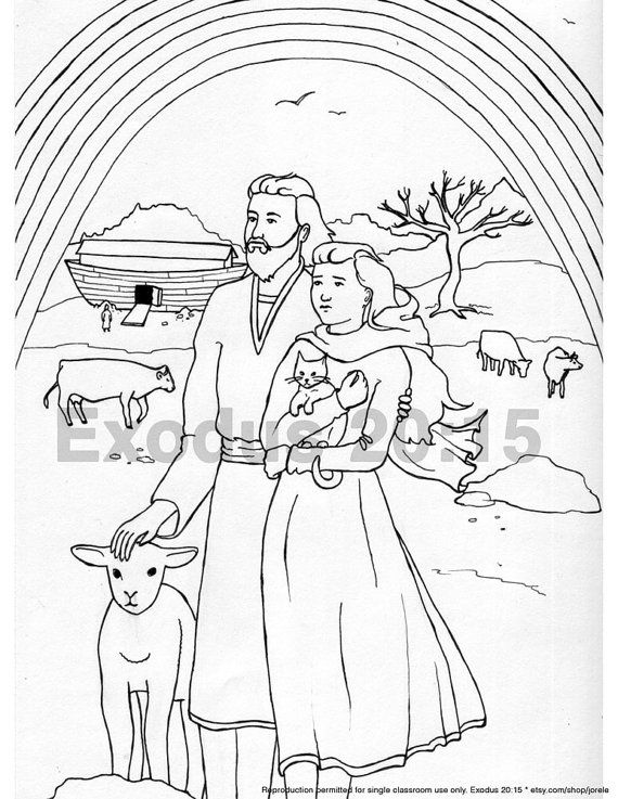 Noah and the flood pages coloring pages for Flood coloring pages