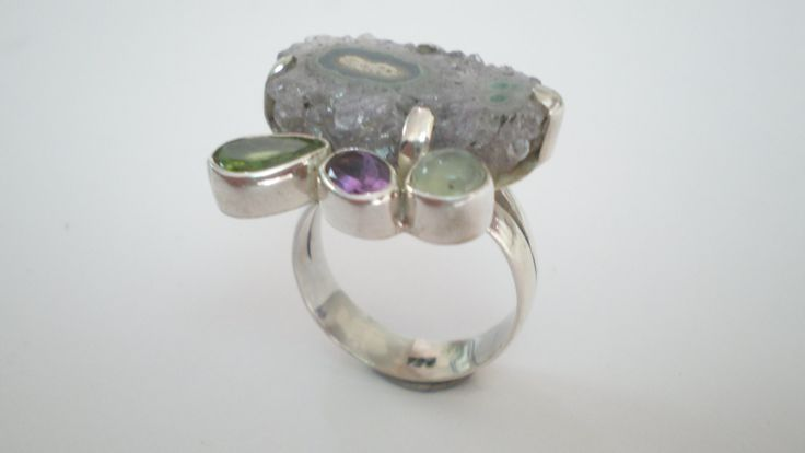 Handmade Silver Ring with Amethysts Topaz and Moonstone by IoJewellery on Etsy