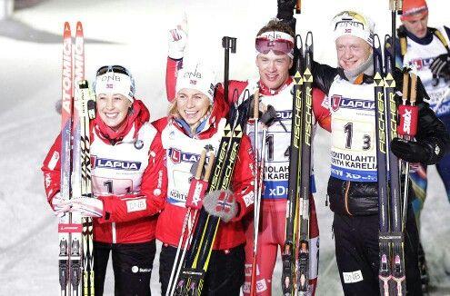 Norway team after the mixed relay in Kontiolahti, Finland. Good job, guys! #championship #kontiolahti2015