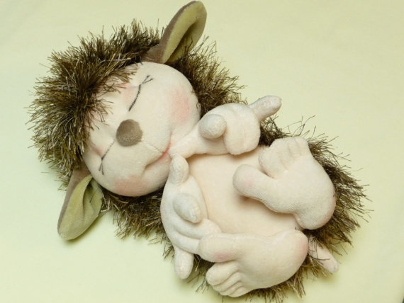 Fluffy Plush Hedgehog with Babyface by SzarvasMici on Etsy, $58.00