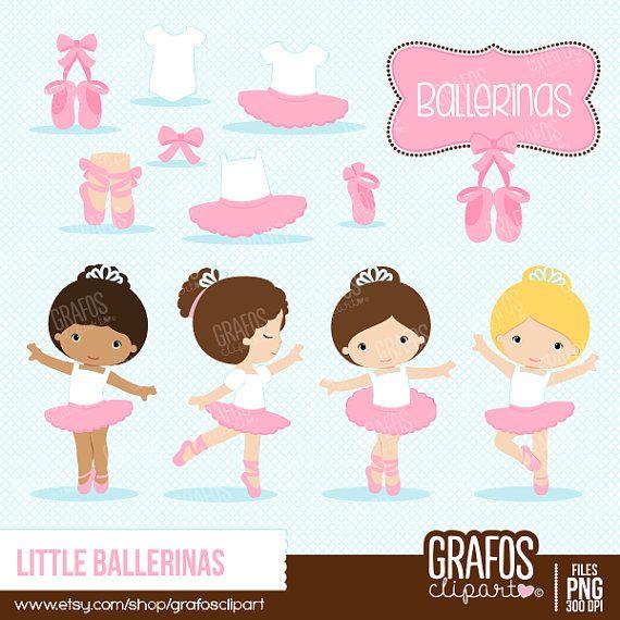 LITTLE BALLERINAS - Digital Clipart Set,  Ballerina Clipart, Ballet Clipart, Tutu Clipart, Ballet Slippers.