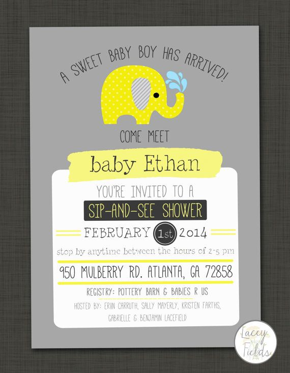 Sip and see baby shower invitation  modern baby by laceyfields, $10.00