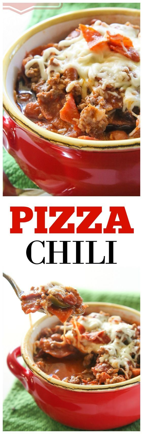 Pizza Chili - beef, sausage, pepperoni, and green peppers simmering in a salsa pizza sauce. the-girl-who-ate-everything.com