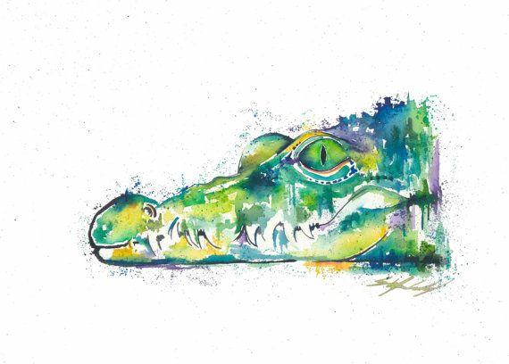 Rainbow Crocodile in watercolour, part of the 'Tropical Waters' range by Stephanie Elizabeth Artwork.