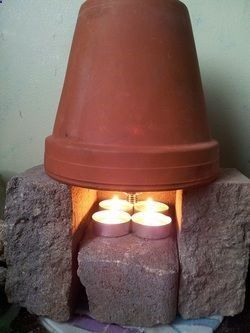 terra-cotta space heater.... several ways to do it, can heat up an entire room. Going to keep a supply of pots and candles on hand, to warm each room in case the power goes out this winter!