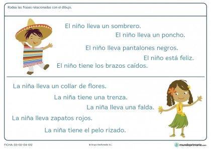 Ficha de rodear la frase que designa el dibujo para primaria