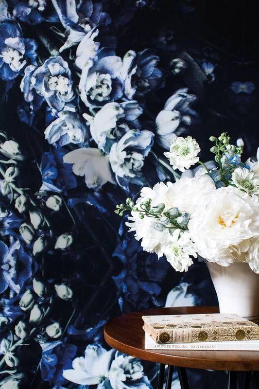 cool blue floral wallpaper