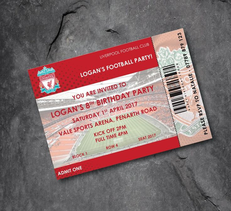 happy birthday invitation pictures%0A Liverpool personalised football invitations  ticket design