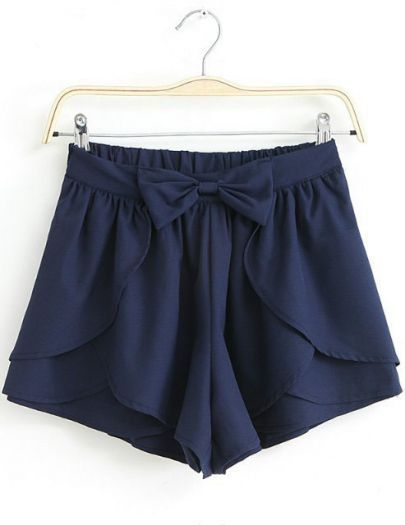 Navy Shorts With Bow//