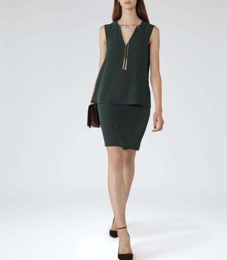 Womens Racing Green Metallic Detail Dress - Reiss Blaze