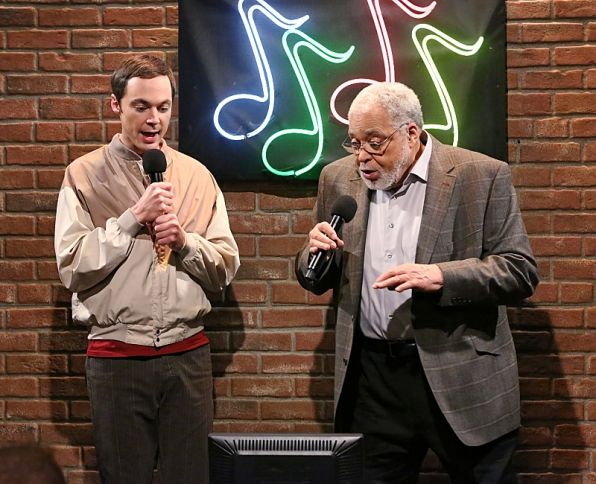 Sheldon sings karaoke with Star Wars legend James Earl-Jones aka Darth Vader.