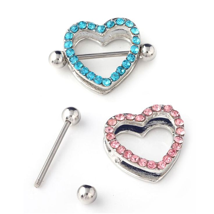 2pcs Free Shipping 14G Sexy Crystal Heart Rings Nipple Ring Barbell Body Piercing Jewelry Love Hearts Nipple Bar ring Women