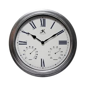 Infinity Instruments Silo Analog Round Indoor/Outdoor Wall Combination Clock 14702As-3719