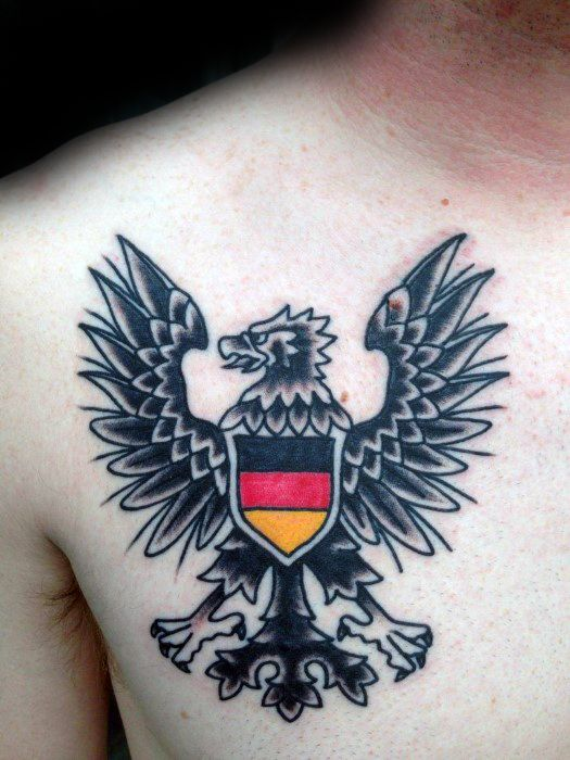 Cool Traditional Upper Chest German Eagle Tattoo Designs For Guys