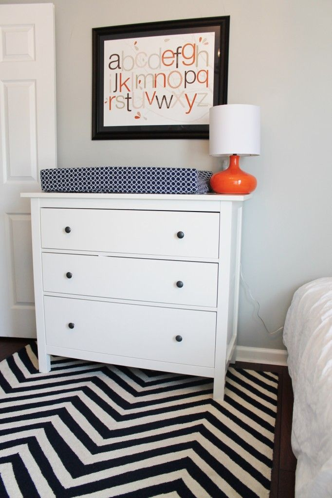 Navy + white chevron rug - #nursery #chevronBoys Nurseries, Boys Bedrooms, Grey Nurseries, Baby Boys, Dressers Nurseries, Orange Nurseries, Boys Room, Grey Navy Orange Nursery, Baby Nurseries