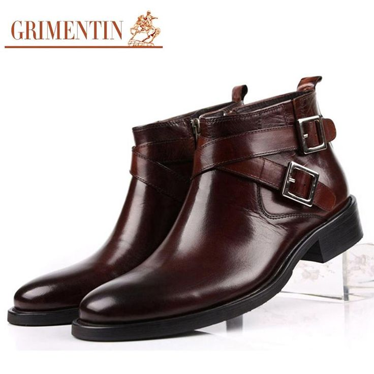 GRIMENTIN Men Genuine Leather Double Buckle Black/Brown Male Ankle Boots – shoes