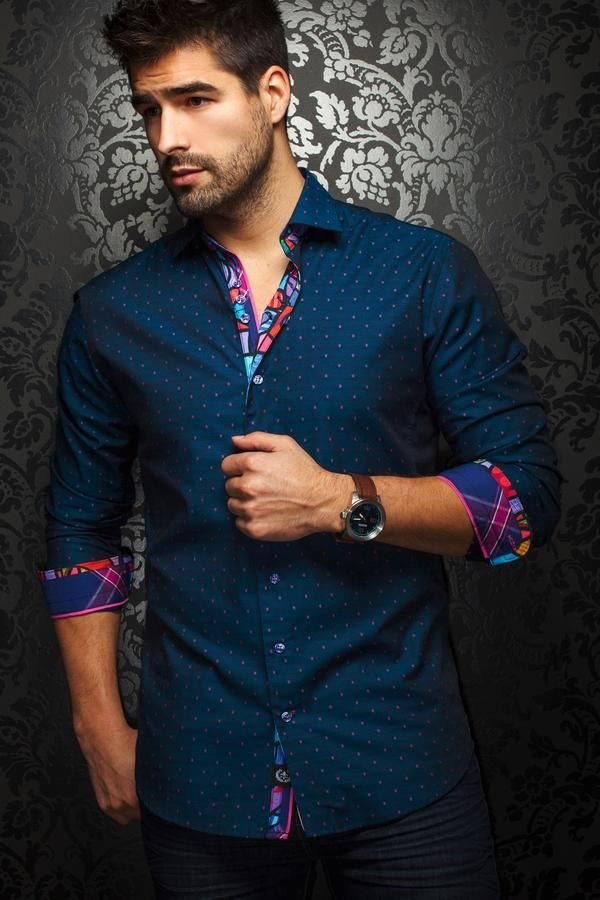 Add a splash of vibrancy to your look with Au Noir designer shirts featuring contrasting fold up cuff garnishes, inner collars and contrasting button plackets.