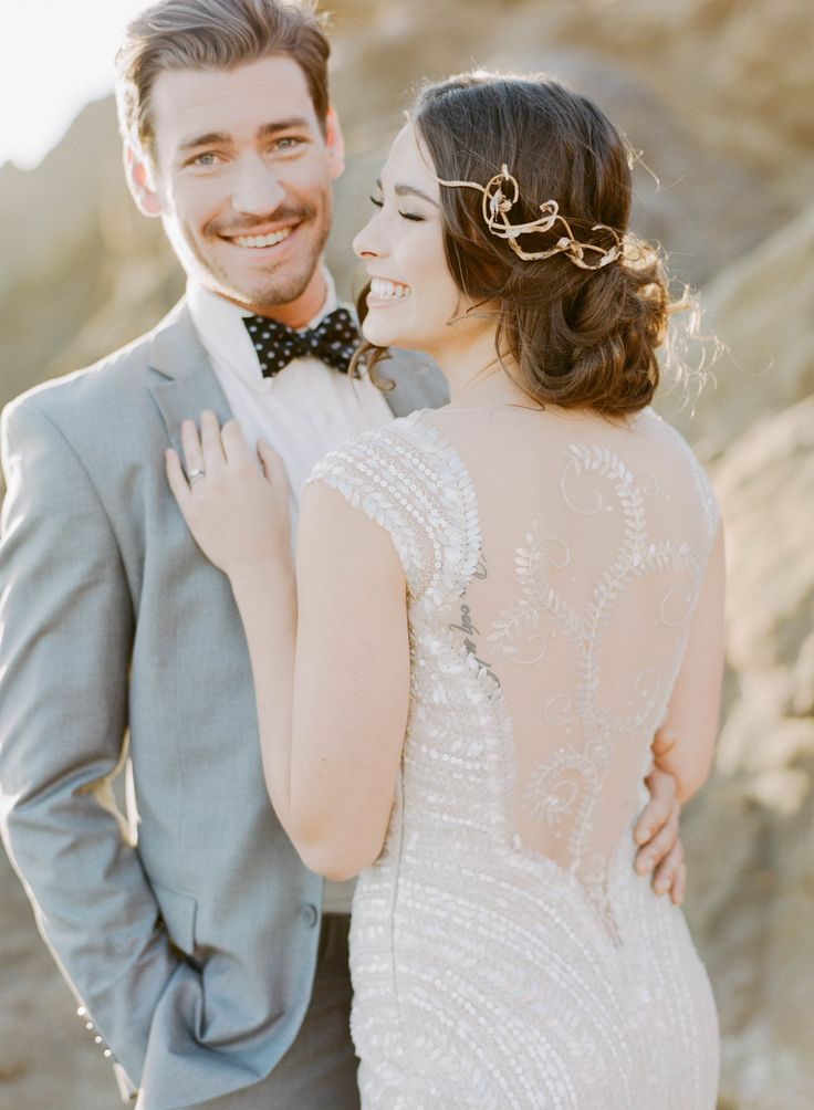 Wedding Gown: Ventura By Manuel Mota At Novella Bridal  | Sylvie Gil Photography | See more Elegant Beach Wedding Inspiration on SMP: http://www.StyleMePretty.com/2014/03/11/elegant-beach-wedding-inspiration/