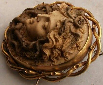 Aegis shield, Victorian cameo brooch.