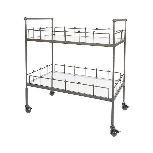 Fitz 2-Tier Rectangular Bar Cart ($123) ❤ liked on Polyvore featuring home, kitchen & dining, bar tools, hammered bronze, service cart, beverage cart, mobile cart, outdoor drink cart and drink cart
