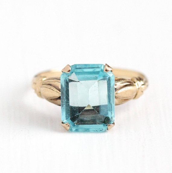 Sale Simulated Aquamarine Ring Vintage 10k Yellow Gold Etsy Aquamarine Ring Vintage Vintage Rings Aquamarine Rings