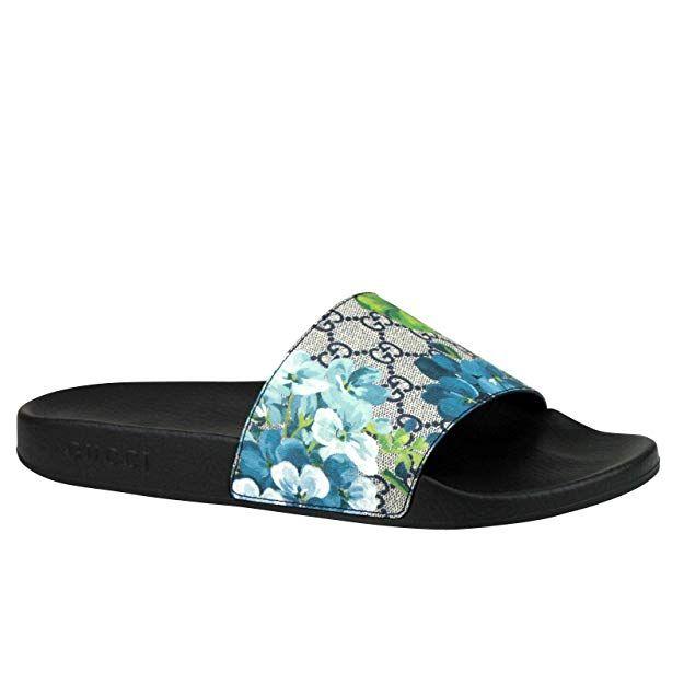 Amazon Com Gucci Bloom Print Blue Supreme Gg Canvas Flower Slide Sandals 407345 8498 Clothing Summer Sandals Heels Womens Sandals Flat Gucci Belt