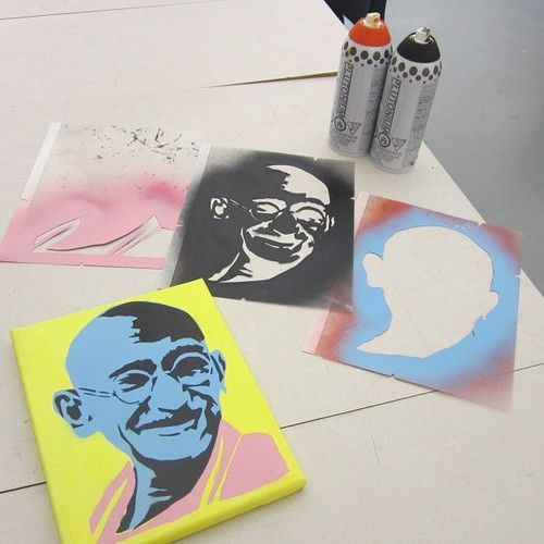 Plutonium™ Paint x Leo Hayes High School 12th Grade Stencil Art Class - New Brunswick, Canada. Three Layer Custom Cut #Ghandi Stencil by the students.