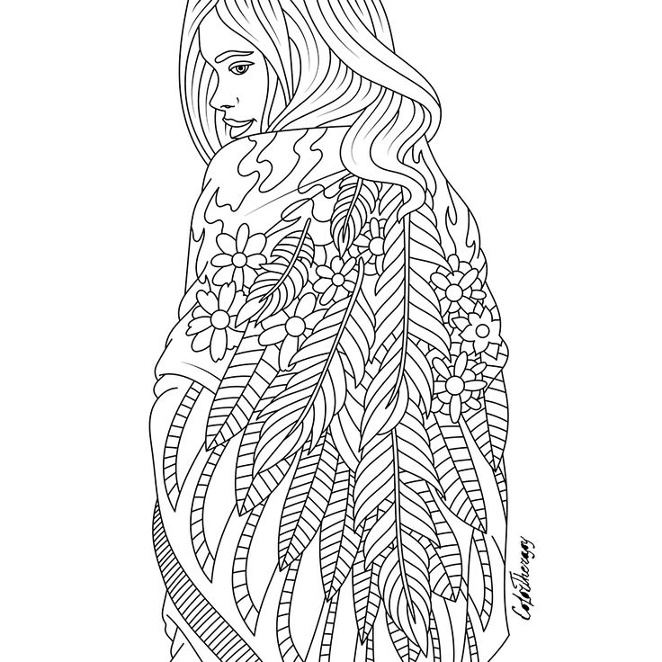 lady feathers cape to color with color therapy httpwwwapple