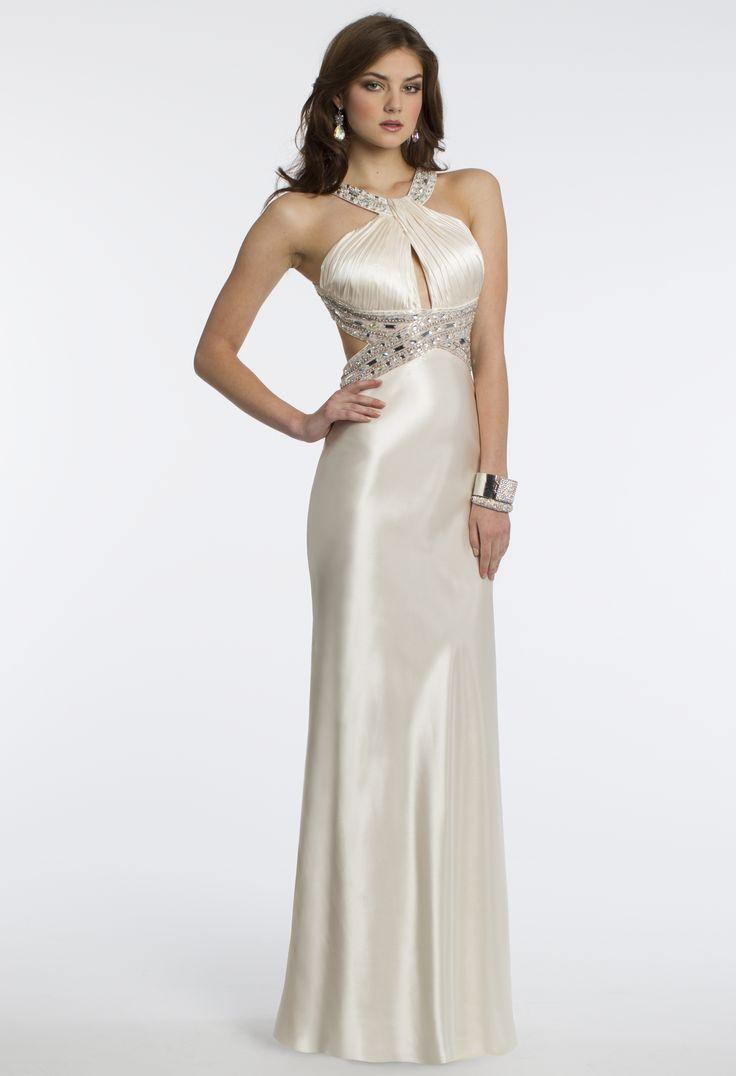 Camille La Vie Charmeuse Cleo Halter Prom Dress