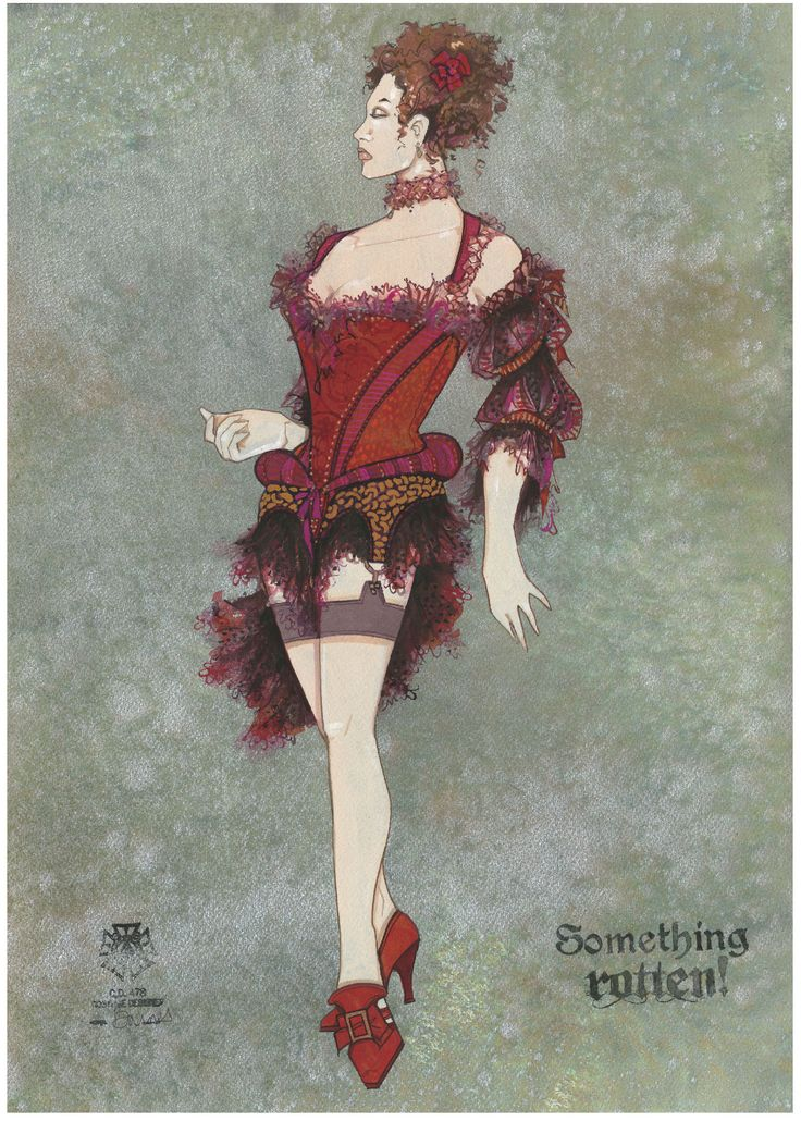 Costume concept art for Broadwayu0027s Something Rotten