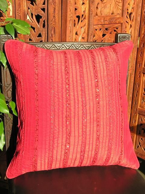 Indian cushion cover in flame red. http://www.maroque.co.uk/showitem.aspx?id=ENT02255&p=06506&n=all