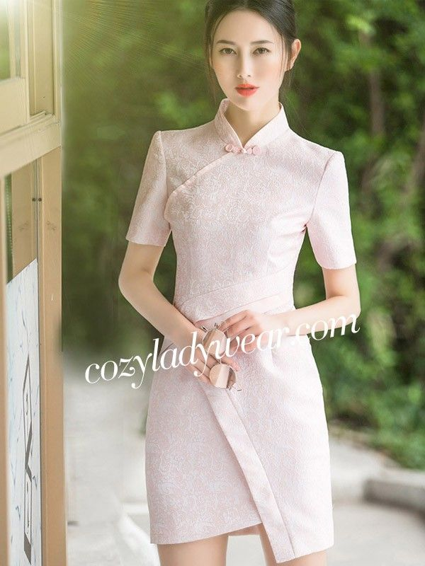 Pink Wrap Front Modern Qipao / Cheongsam Dress with Short Sleeves