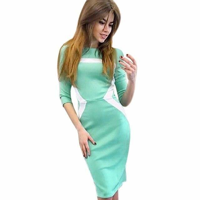 Hotwomens Vintage Silm Mini Dress Ladies Geometric Patchwork Pencil Bodycon Party Dress Vestidos Plus Size Xxl Green XL