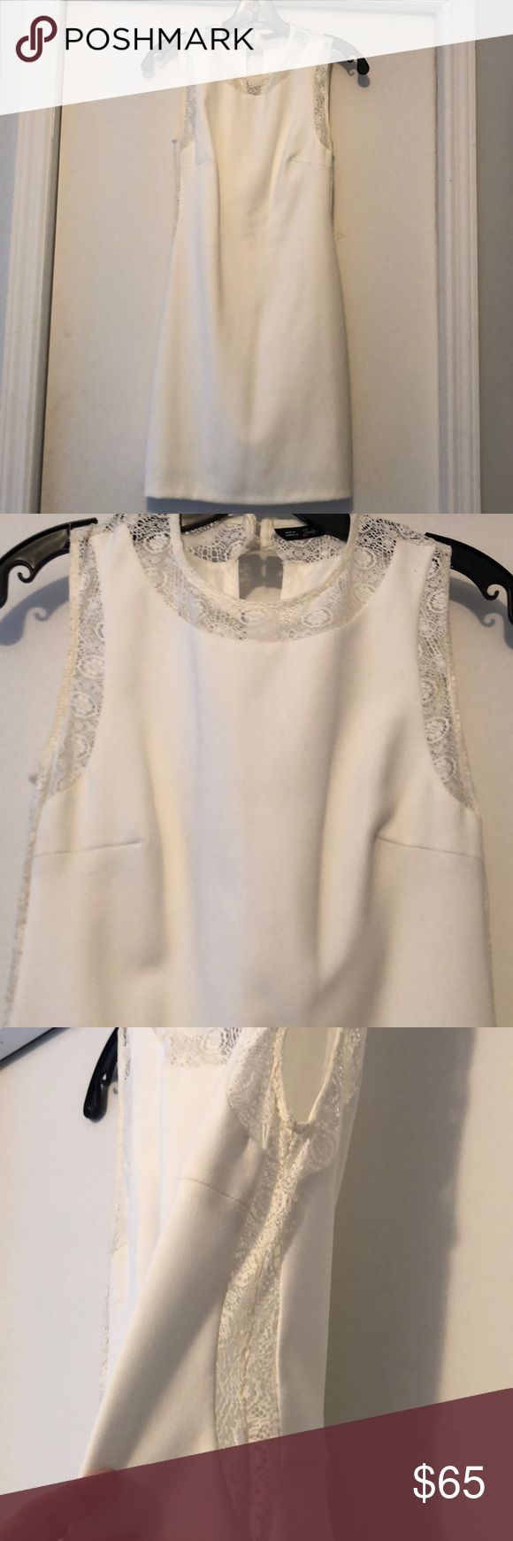 "Zara off white gorgeous dress with lace details! Size M (but definitely fits more like a small to XS), my normal size is 0-2. Lace cutouts on side show bare skin- super cute! Length top of shoulder to bottom 33"". Make an offer! Zara Dresses Mini"