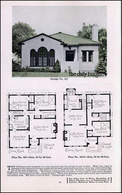 355 best vintage house plans images on pinterest vintage for Spanish bungalow house plans
