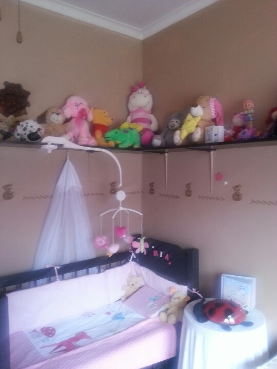 Cot and teddies