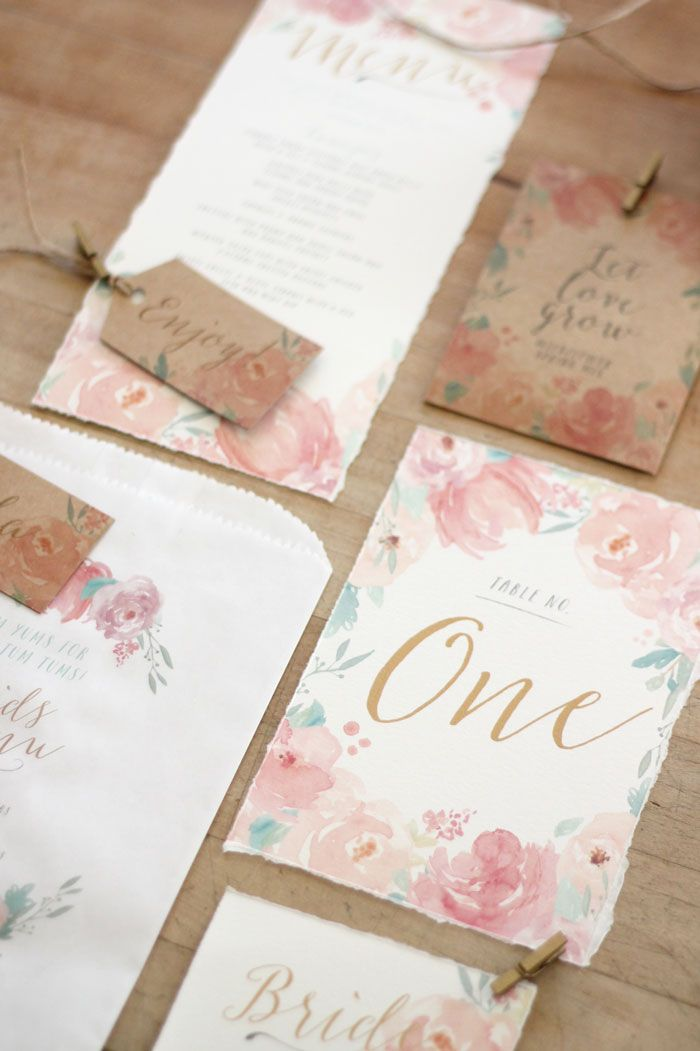 Just My Type Wedding Invitation and Wedding Stationery Design NZ Spring Floral Watercolour pretty pastel peonies