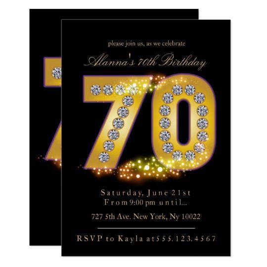Diamantes y oro, 70.as invitaciones del cumpleaños