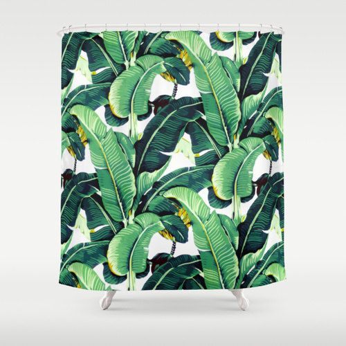 martinique vintage banana leaves shower curtain trendy boho bathroom decor tropical leaf pattern