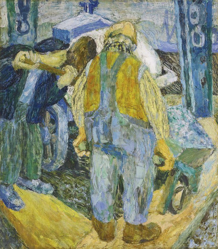 Joan Kathleen Harding Eardley (1921-1963), THE MIXER MEN, oil on canvas, 90.5 x 80cm