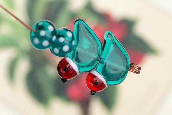 Lampwork glass bird beads earring pair and 2 spacer beads. Handmade lampwork birds in folk art style in red, teal green and white for jewelry.