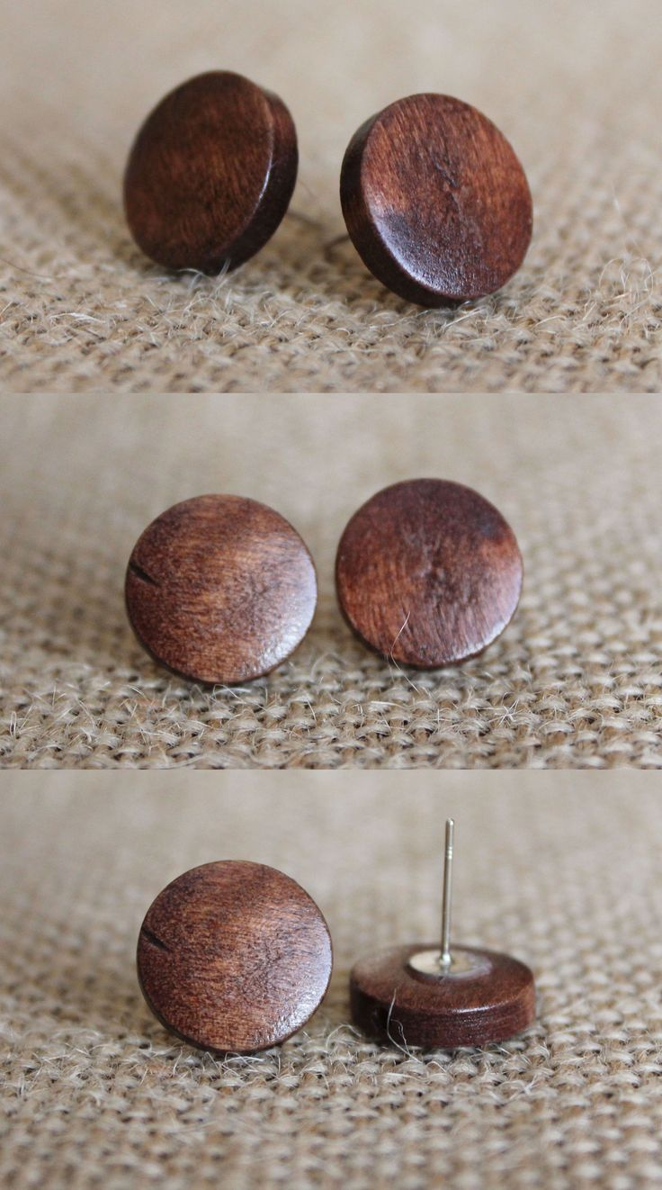 Simple Wooden Stud Earrings | These small circle stud earrings feature a clean, simple look. They are made from wooden beads that measure approximately a 1/2 inch.