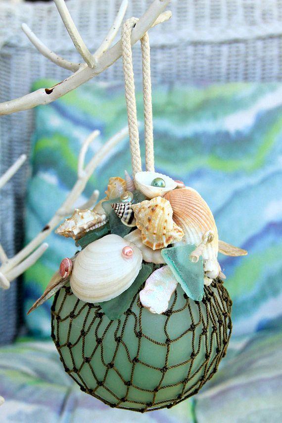 Glass Float Beach Christmas Ornament for Coastal DecorCoastal