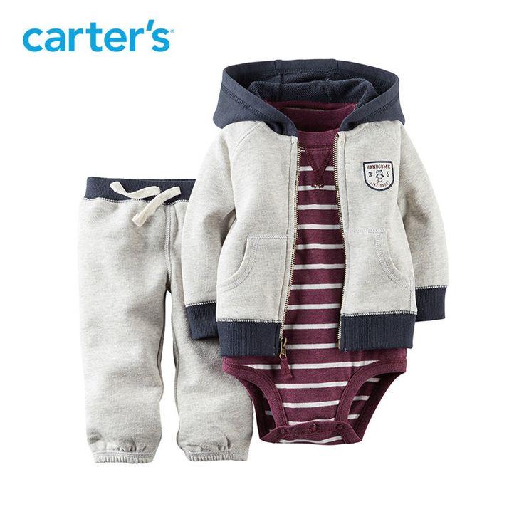 Carter's 3 stuk grijs pak Trui Broek Katoen met capuchon en turnpakje | Baby en Kinderspullen