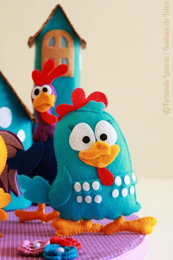 Molde grátis galinha pintadinha de feltro
