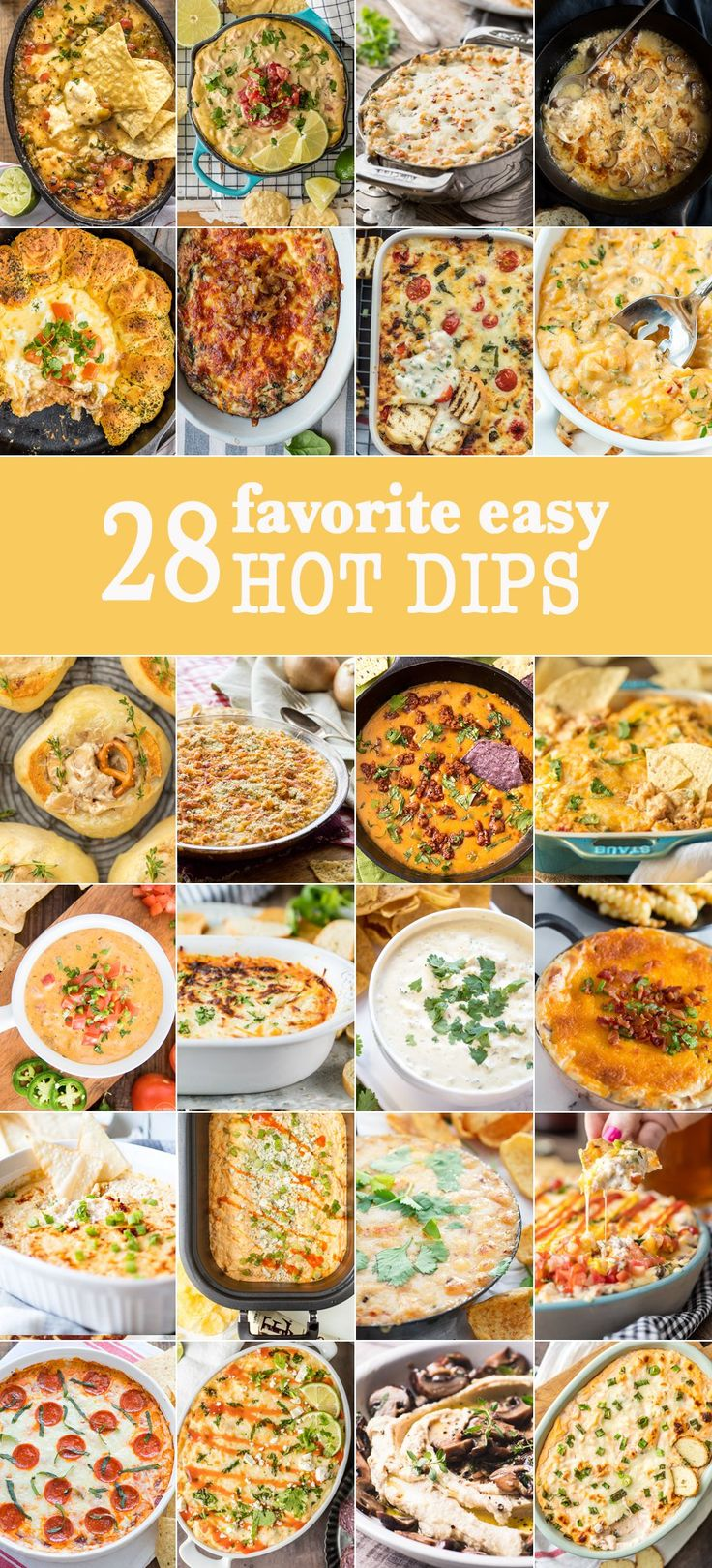 28 Favorite Easy Hot Dips JUST PERFECT FOR TAILGATING! Game Day eats have never been more delicious or simple! BEST DIP RECIPES EVER!
