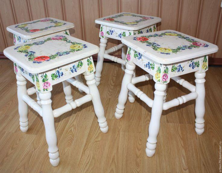 Купить Стол с табуретками Летний венок - комбинированный, мебель из дерева, расписная мебель, стол, табуретка