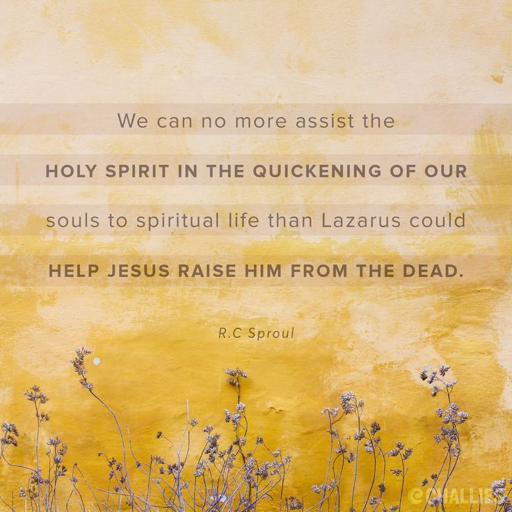 """We can no more assist the Holy Spirit in the quickening of our souls to spiritual life than Lazarus could help Jesus raise him from the dead."" (R.C. Sproul)"
